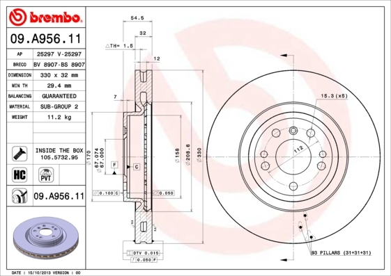 Диск тормозной Brembo. 09.A956.1109.A956.11