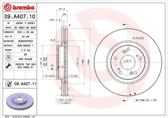 Диск тормозной Brembo, 2 шт. 09.A407.1009.A407.10