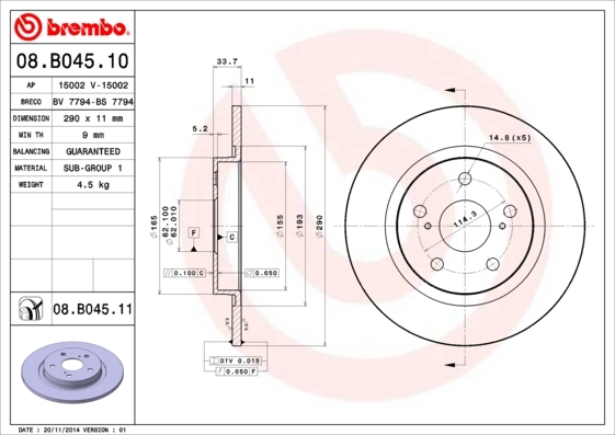 Диск тормозной Brembo, 2 шт. 08.B045.1008.B045.10