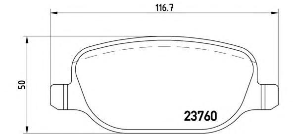 Комплект тормозных колодок Brembo, задние, комплект. P23089P23089