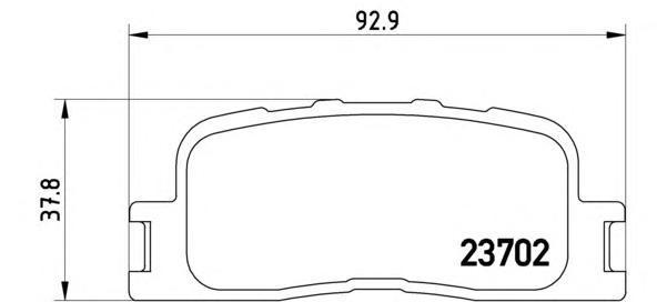 Комплект тормозных колодок Brembo, задние, комплект. P83088P83088