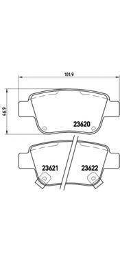 Комплект тормозных колодок Brembo, задние, комплект. P83047P83047