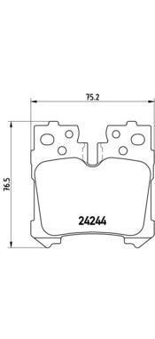 Комплект тормозных колодок Brembo, задние, комплект. P83076P83076