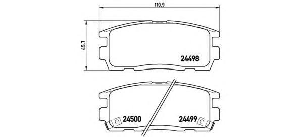 Комплект тормозных колодок Brembo, задние, комплект. P10004P10004