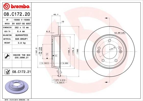 Диск тормозной Brembo, 2 шт. 08.C172.2008.C172.20