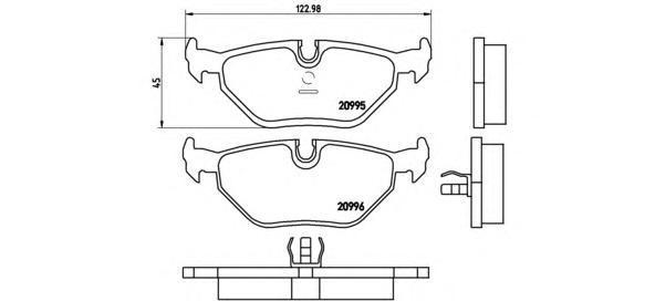 Колодки тормозные дисковые Brembo, задние. P06011P06011