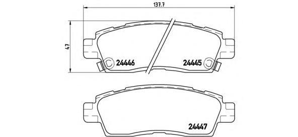Комплект тормозных колодок Brembo, задние, комплект. P10010P10010