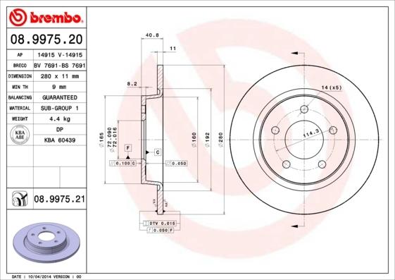 Диск тормозной Brembo, 2 шт. 08.9975.2008.9975.20