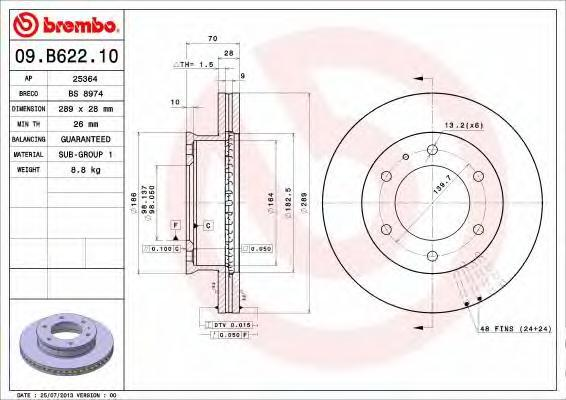 Диск тормозной Brembo. 09.B622.1009.B622.10