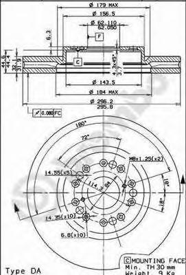 Диск тормозной Brembo, передний, 2 шт. 09.8402.1009.8402.10
