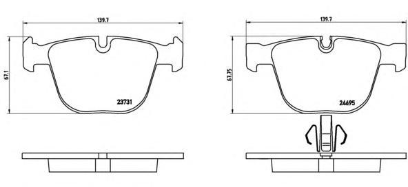 Колодки тормозные дисковые Brembo, комплект. P06053P06053