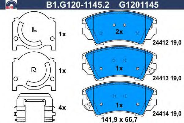 Колодки тормозные дисковые Galfer, комплект. B1.G120-1145.2B1.G120-1145.2