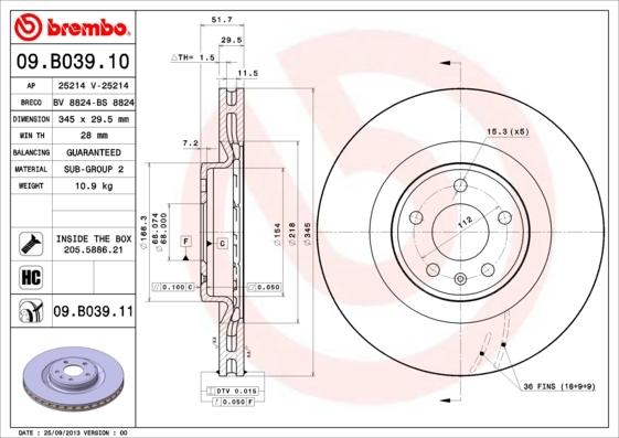 Диск тормозной Brembo, передний. 09.B039.1009.B039.10