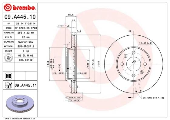Диск тормозной Brembo, передний, 2 шт. 09.A445.1009.A445.10