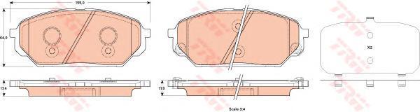 Колодки тормозные дисковые TRW, передние. GDB3527GDB3527