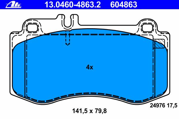 Колодки тормозные дисковые Ate, передние. 13.0460-4863.213.0460-4863.2