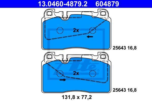 Колодки тормозные дисковые Ate, передние. 13.0460-4879.213.0460-4879.2