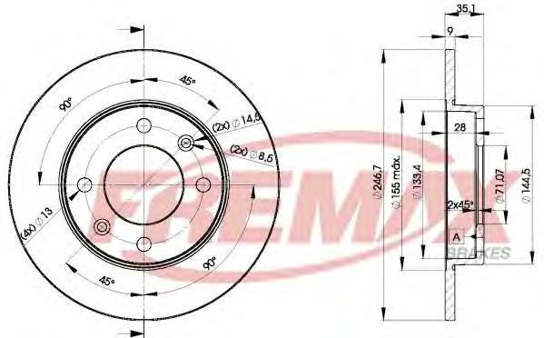 Диск тормозной Fremax, 2 шт. BD-4746BD-4746