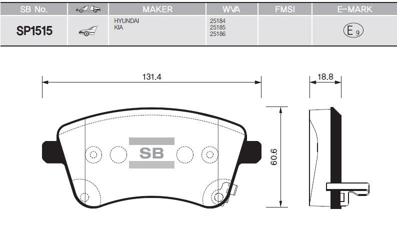 Колодки тормозные дисковые Sangsin, передние. SP1515SP1515