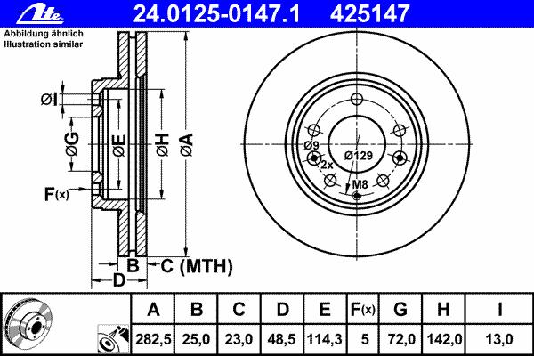 Диск тормозной Ate, 2 шт. 24.0125-0147.124.0125-0147.1
