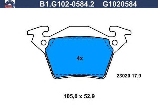 Колодки тормозные дисковые Galfer. B1.G102-0584.2B1.G102-0584.2