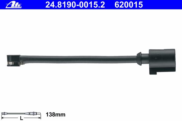 Датчик износа задних тормозных колодок Ate, комплект 2 шт. 24.8190-0015.224.8190-0015.2