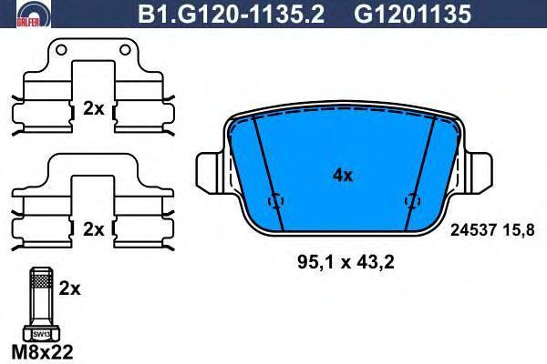 Колодки тормозные дисковые Galfer, комплект. B1.G120-1135.2B1.G120-1135.2