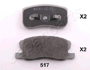Колодки тормозные дисковые Japanparts, комплект. PA-517AFPA-517AF