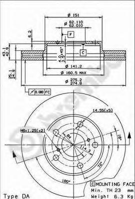Диск тормозной Brembo, передний, 2 шт. 09.9185.1009.9185.10