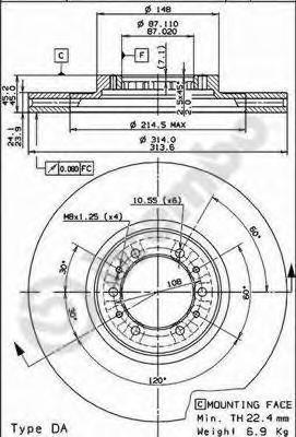 Диск тормозной Brembo, передний, 2 шт. 09.9132.1009.9132.10