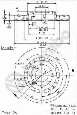 Диск тормозной Brembo, передний, 2 шт. 09.9608.2409.9608.24