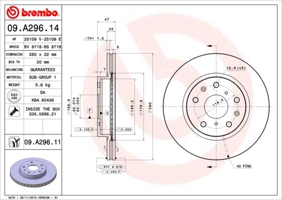 Диск тормозной Brembo, передний, 2 шт. 09.A296.1409.A296.14