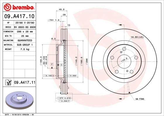 Диск тормозной Brembo, передний, 2 шт. 09.A417.1109.A417.11