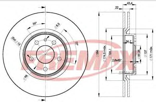 Диск тормозной Fremax, 2 шт. BD-1548BD-1548