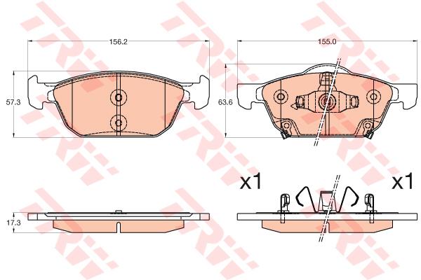 Колодки тормозные дисковые TRW, передние. GDB3600GDB3600