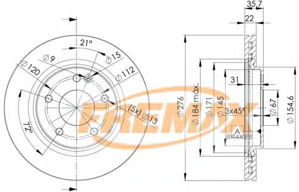 Диск тормозной Fremax, 2 шт. BD-0612BD-0612