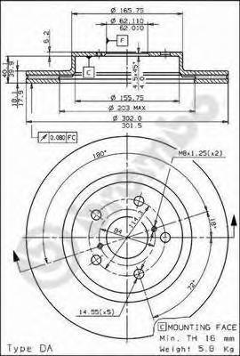 Диск тормозной Brembo, передний, 2 шт. 09.7225.1009.7225.10