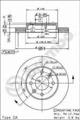 Диск тормозной Brembo, передний, 2 шт. 09.3148.1409.3148.14