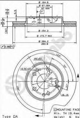 Диск тормозной Brembo, передний, 2 шт. 09.4869.3409.4869.34