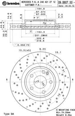 Диск тормозной Brembo, передний. 09.B807.5109.B807.51