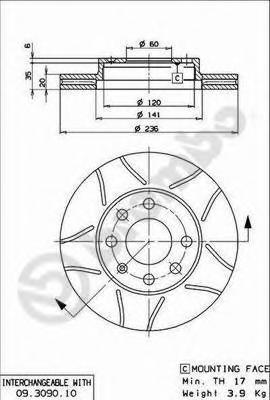 Диск тормозной Brembo, передний, 2 шт. 09.3090.7509.3090.75