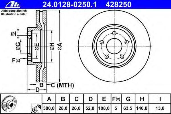 Диск тормозной Ate, передний. 24.0128-0250.124.0128-0250.1