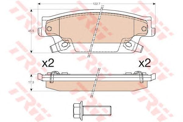 Колодки тормозные дисковые TRW, задние. GDB4452GDB4452