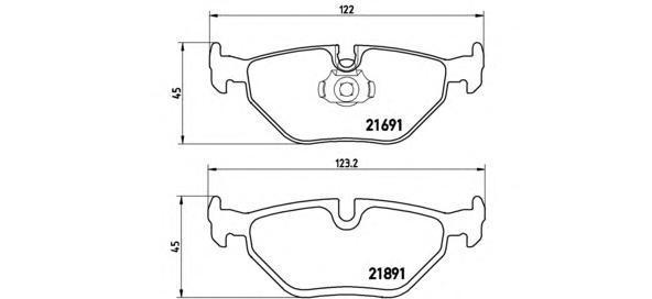 Колодки тормозные дисковые Brembo, задние. P06023P06023