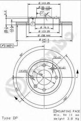 Диск тормозной Brembo, передний, 2 шт. 08.9606.1408.9606.14