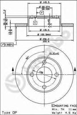 Диск тормозной Brembo, передний, 2 шт. 08.2794.1408.2794.14