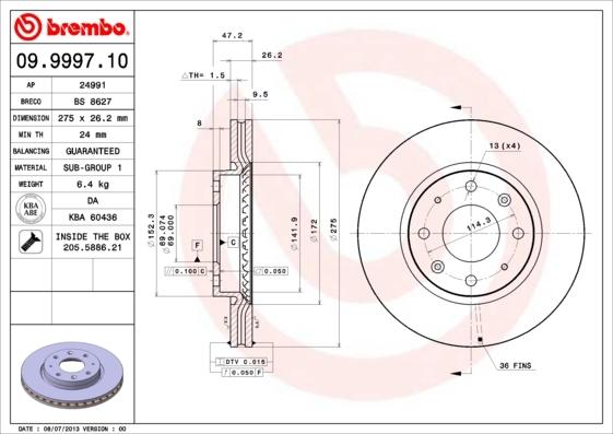 Диск тормозной Brembo, передний, 2 шт. 09.9997.1009.9997.10