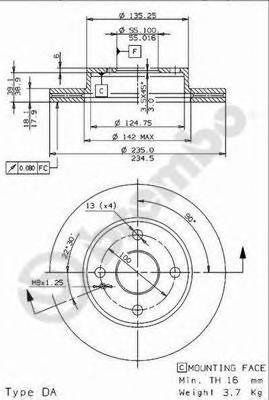 Диск тормозной Brembo, передний, вентилируемый, 2 шт. 09.5869.1409.5869.14