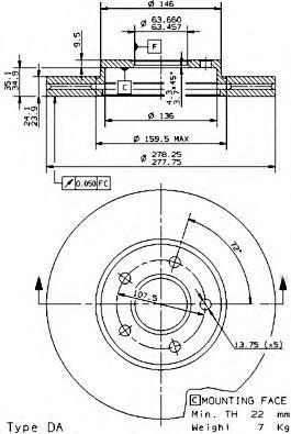 Диск тормозной Brembo, передний, вентилируемый, 2 шт. 09.9589.1409.9589.14