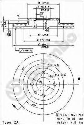 Диск тормозной Brembo, передний, вентилируемый, 2 шт. 09.8903.1409.8903.14
